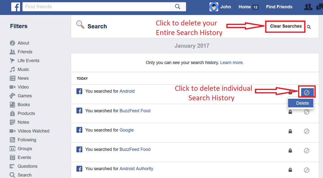 How to delete your facebook search history how to delete your facebook search history step 4 ccuart Gallery